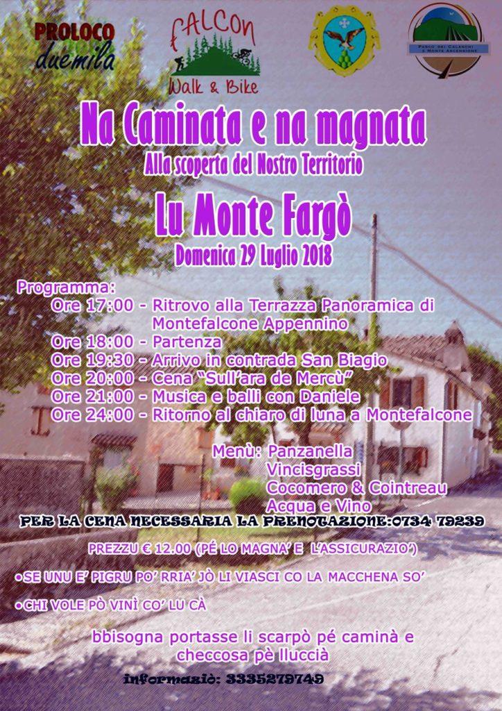 "Locandina dell'evento  ""Na camminata na magnata"" - Montefalcone 29/07/2018"