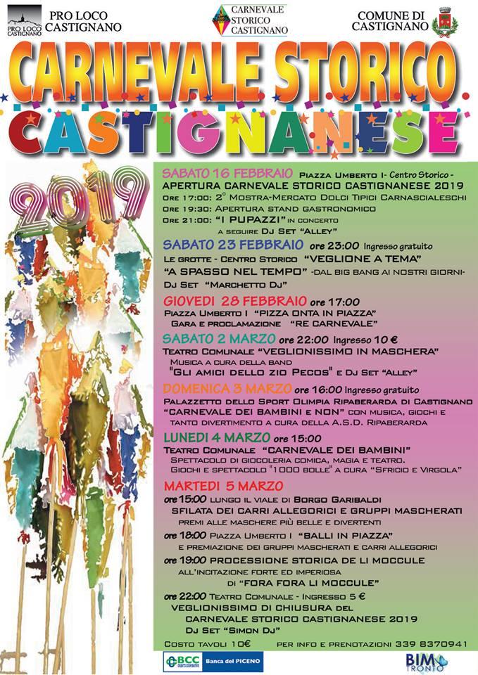 Castignano locandina del Carnevale 2019