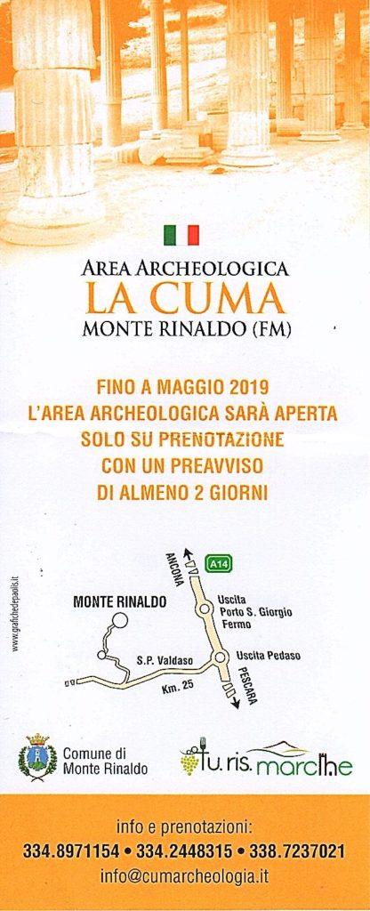 avviso apertura area archeologica Monte Rinaldo